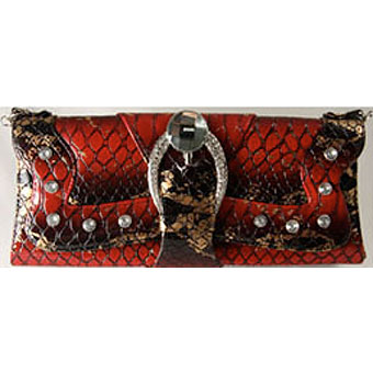 Faux Alligator Skin Hand Bag