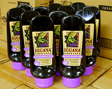 12 4 fl.oz.(118ml) Bottles of IGUANA SUNBLOCK - Zinc Oxide! Skin Cancer Prevention!